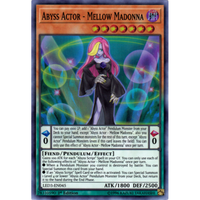 Yu-Gi-Oh Super Rare Abyss Actor Mellow Madonna 1st Edition LED3-EN045 NM